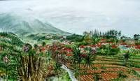 View at Gadog and gunung Salak near Bogor Indonesia. Watercolour 50 x 70 cm. 2003.  » Click to zoom ->