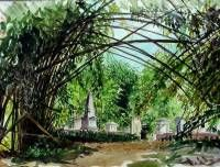 The old Dutch cemetery in the Kebon Raya at Bogor Java Indonesia. Watercolour 40 x 50 cm. 2003.  » Click to zoom ->