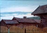 Farmhouse rooftops Waniewo Poland. Oil on paper 17 x 24 cm.  » Click to zoom ->